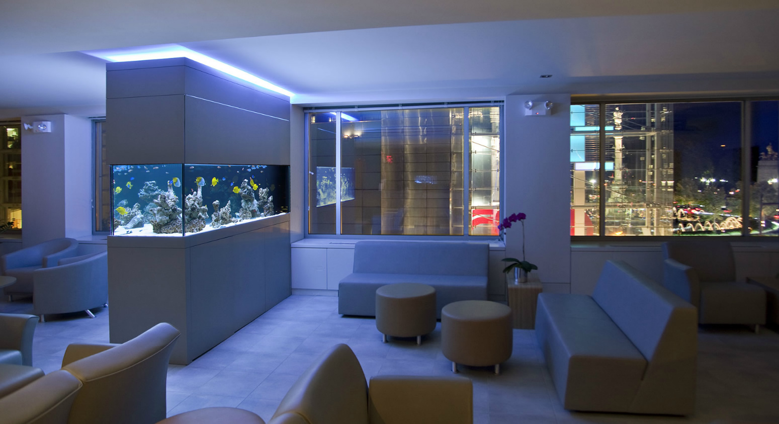Saltwater-Office-Fish-Tank-Decorations-For-Living-Room-Design-With-Contemporary-Sofa-Sets