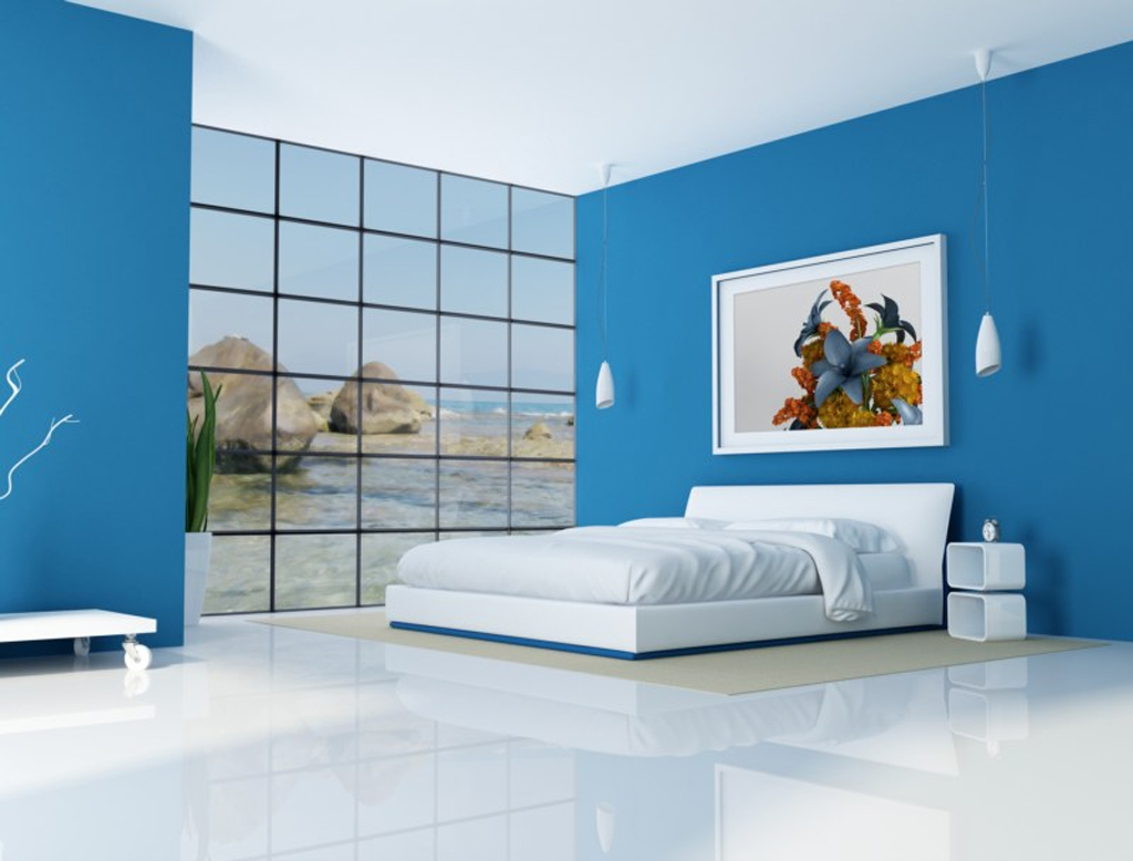 Great Digital Imageries Of Blue And White Bedroom With L Shaped White Regarding Blue And White Bedroom Decor Prepare - www.expofacto.co